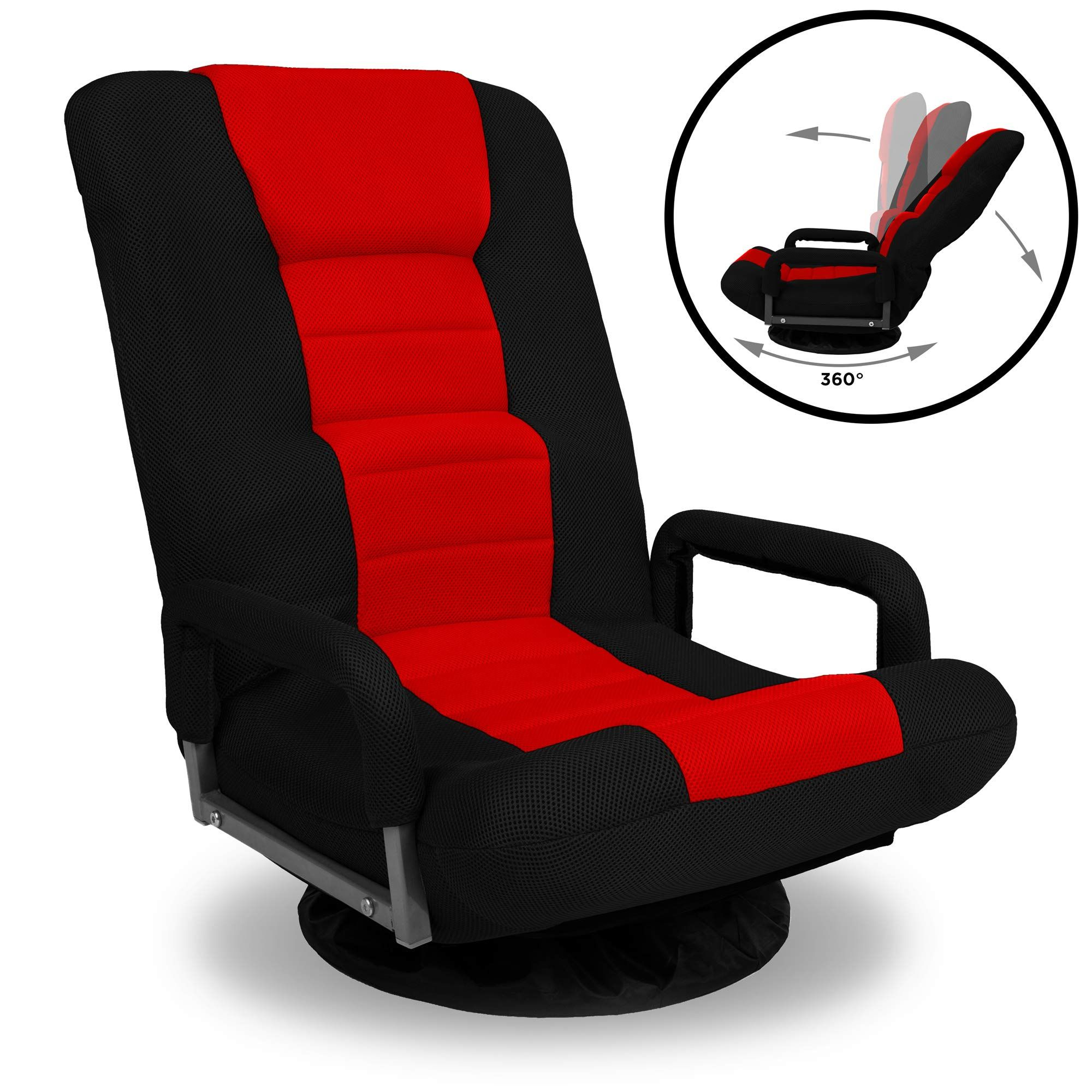 Best Choice Products 360 Degree Swivel Gaming Floor Chair W Armrest Handles Foldable Adjustable Backrest Red Black Gaming Chair Floor Chair Gaming Sofa