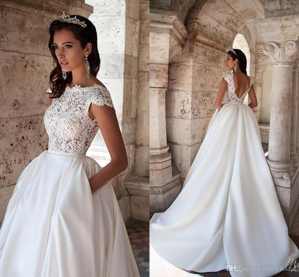 2018 Lace Top Cap Sleeve Backless Modest Wedding Dresses Princess Bridal  Gown da00b47e7