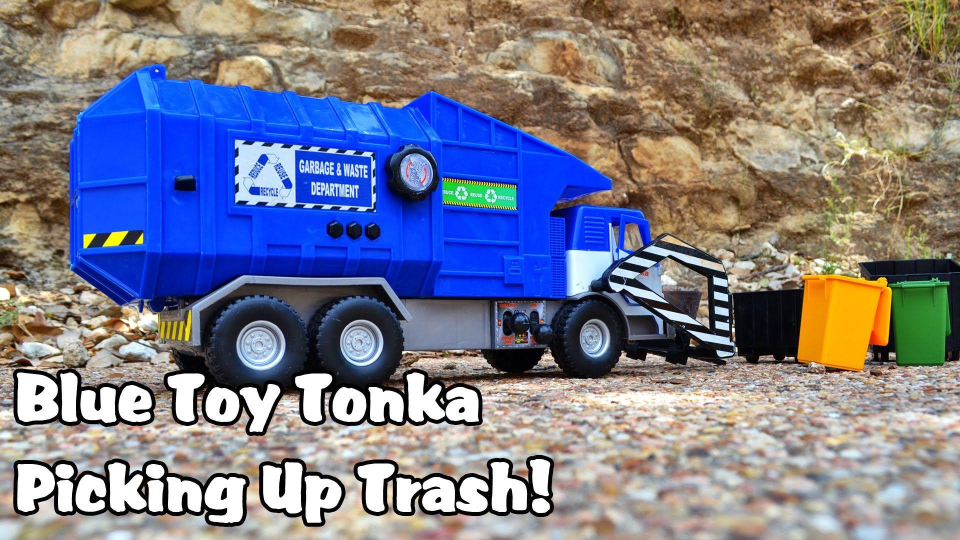 Blue Toy Tonka Garbage Truck Picking Up Trash L Garbage