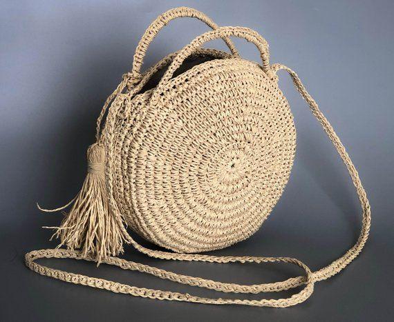 NATURAL Straw beach bag, Crossbody bag, boho straw bags, crochet beach bag, Hand crafted boho bag
