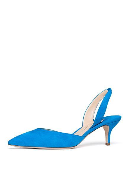 Paul Andrew Rhea kitten heel slingback suede positano blue.