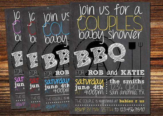 couples bbq baby shower invitation, printable, custom | Baby Q ...
