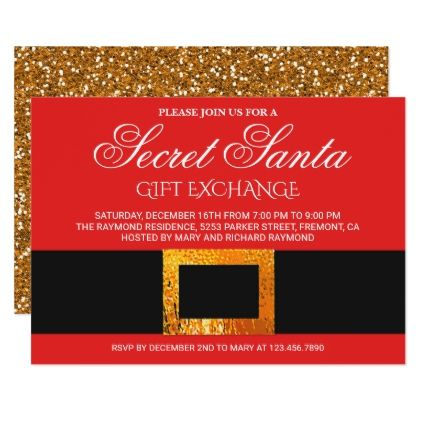 Christmas Gift Exchange Party Secret Santa Invite Party gifts