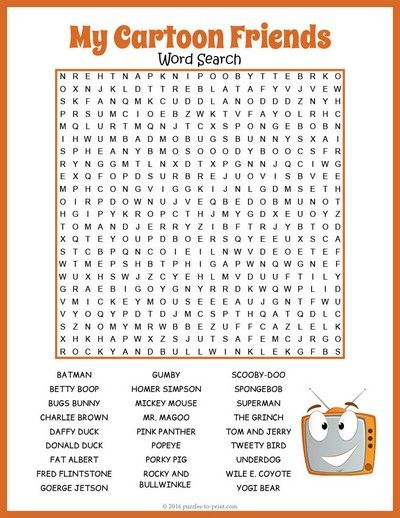 Free Printable Cartoon Characters Word Search Puzzle Afterschool Activities Math Activities For Kids Character Words