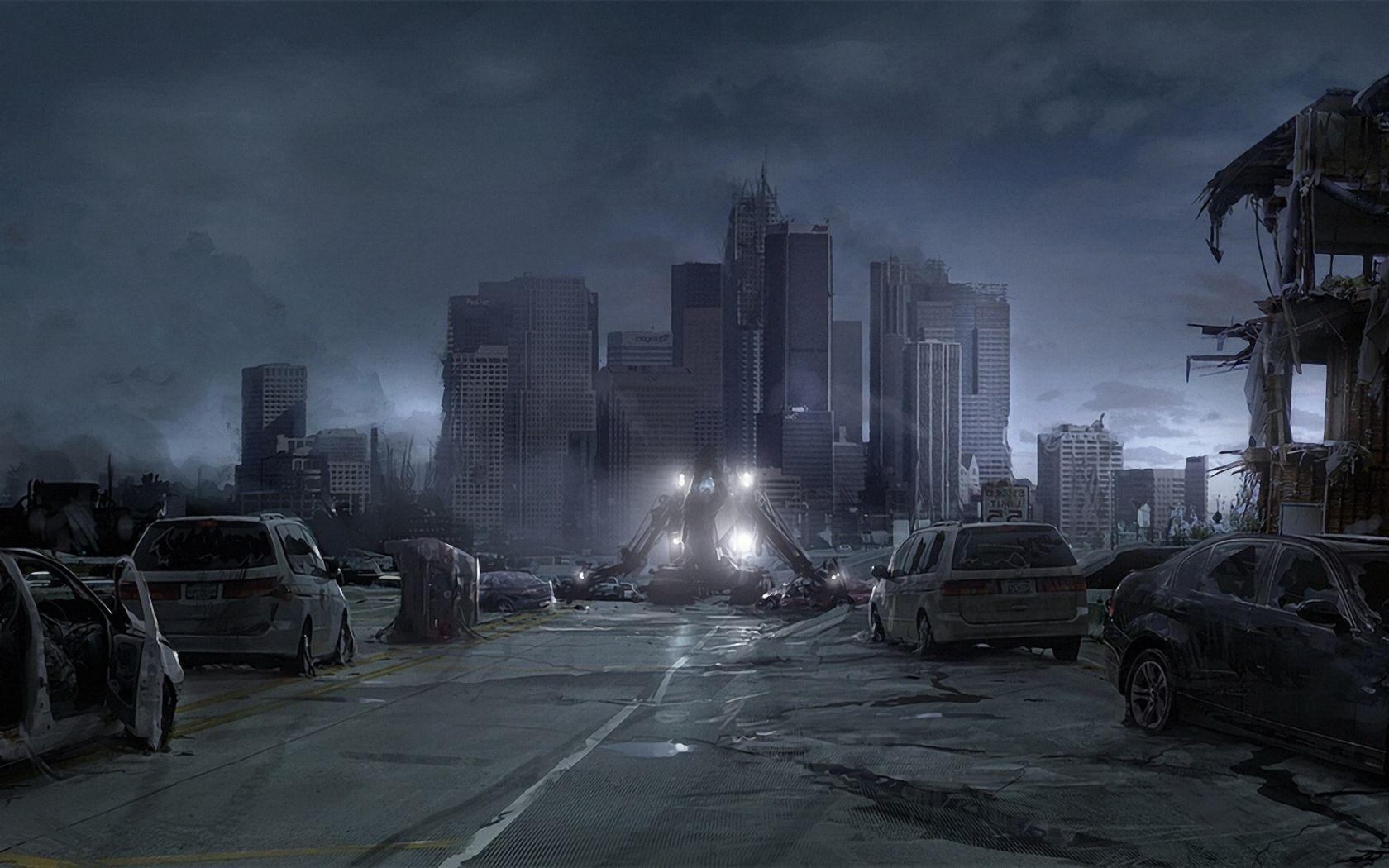 Describe a destructed city.?