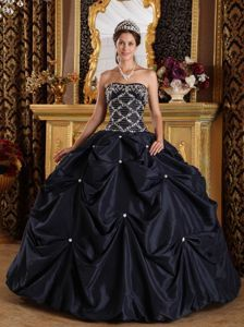 555a84daa8d Beading Strapless Pick Up Ball Gown Black Taffeta Quinceaneras Dress ...