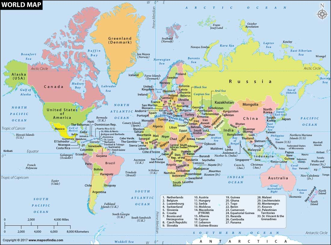 Clickable political map of the World locating all countries ...