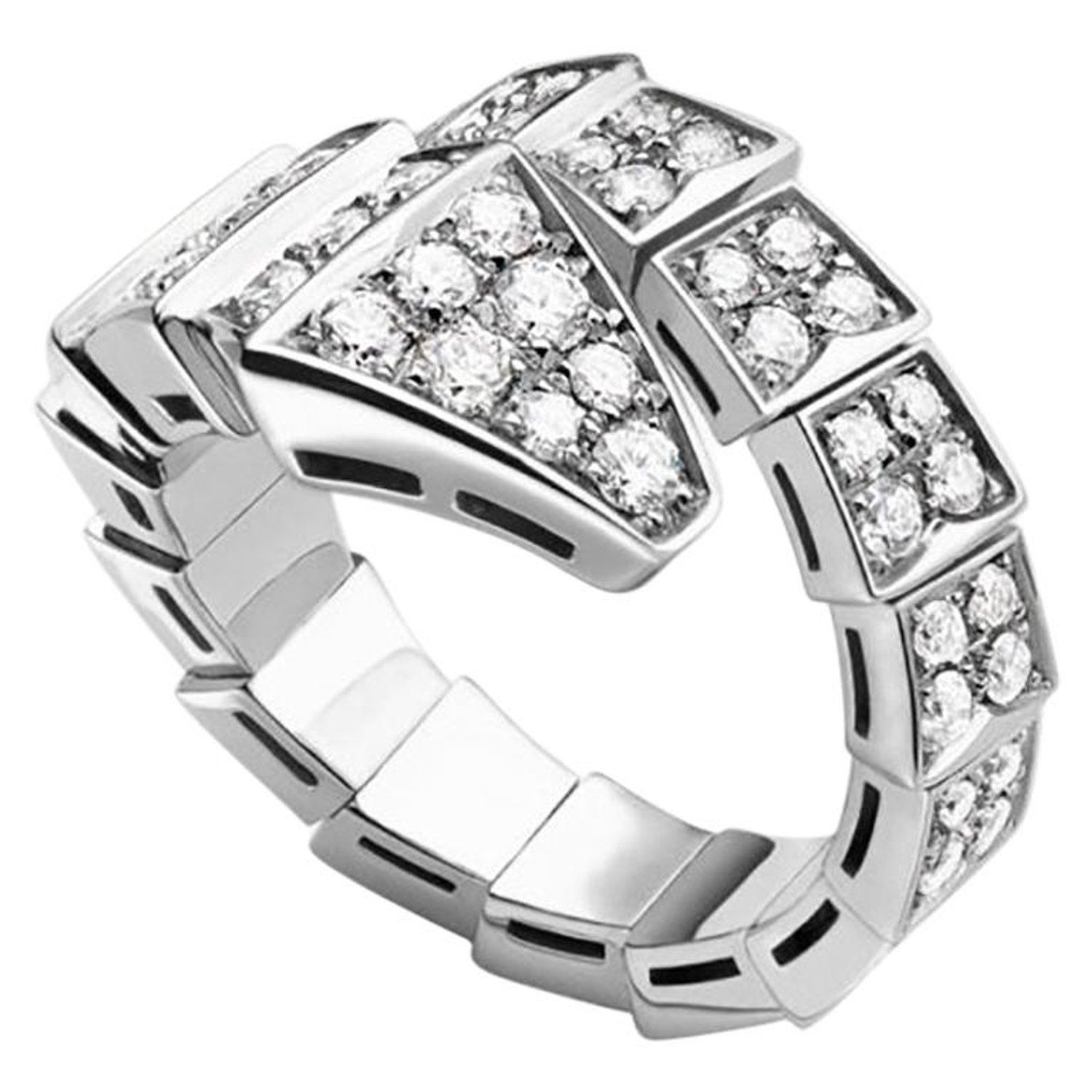 ce2fdb50b Bvlgari Serpenti One-Coil Ring in 18 Karat White Gold Set with Full Pave  Diamond