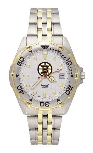 NHL Boston Bruins All Star Watch Stainless Steel Bracelet by Logo Art. $79.99. LogoArt leads the pack with this stylish All Star men's team logo watch. The All Star features a brushed chrome finish case with a rotating two-tone bezel and matching two-tone stainless steel bracelet. A silver dial with raised luminous hour indexes sports the team logo, minute and second hands, and date window. The crystal is mineral glass. Features precision Miyota quartz movement. Water resi...