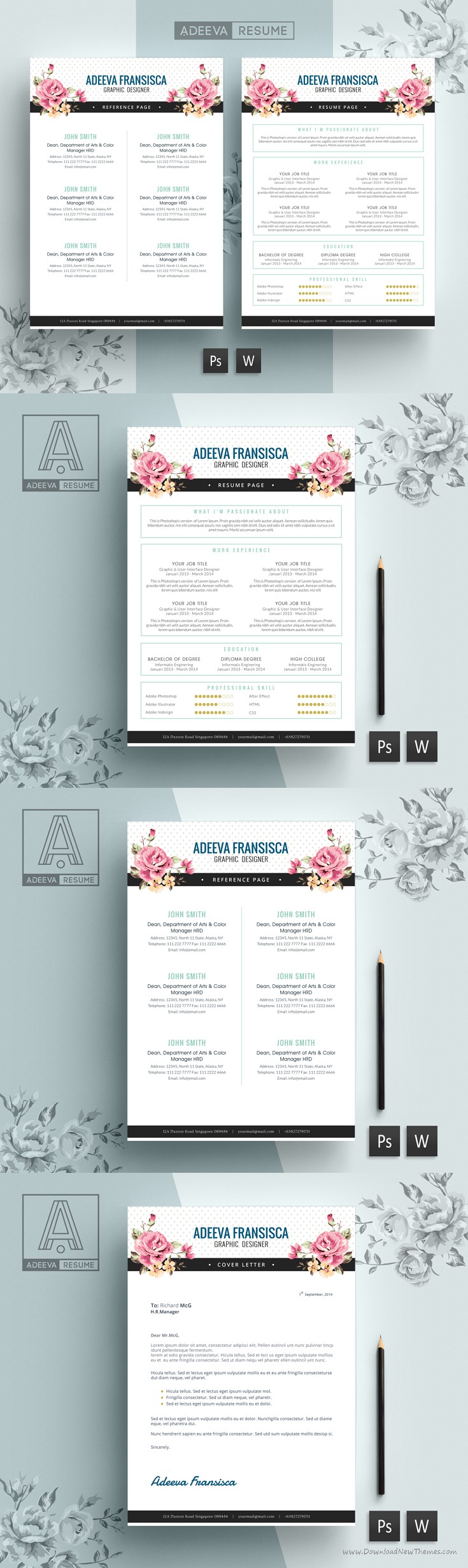 Step By Step Resume Professional Resume Template Fransisca Includes A #resume #cv With .
