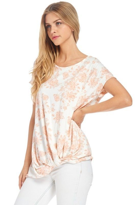 Floral Twist Front Tee in Ivory