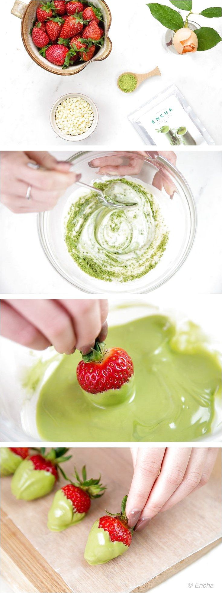 Matcha recipe matcha chocolate-dipped strawberries with culinary-grade Encha Organic Matcha #FruitSmoothieIdeas click to see more... #chocolatestrawberrysmoothie