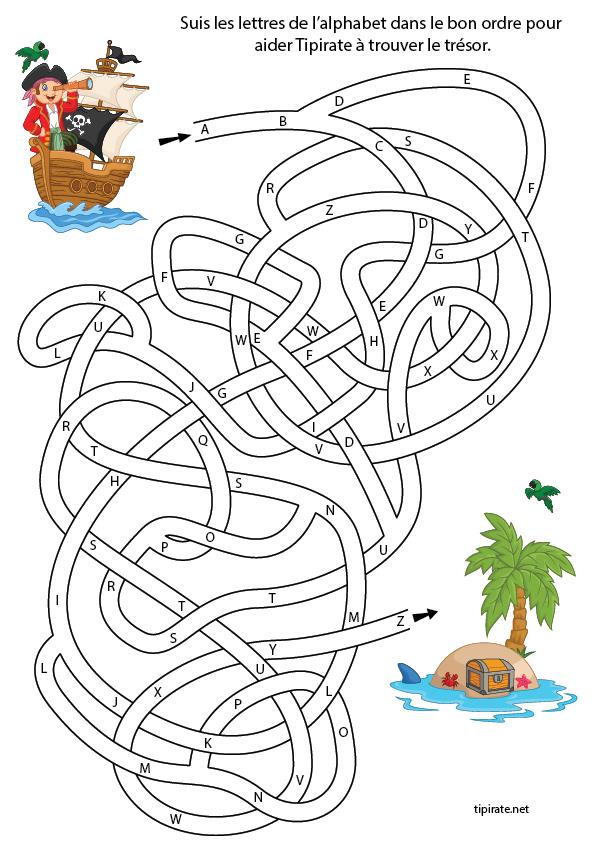 Labyrinthe alphabet labyrinthes pirate birthday pirate crafts et pirate treasure - Jeu labyrinthe a imprimer ...