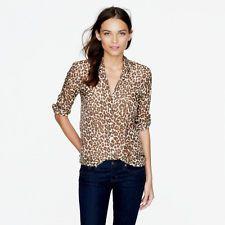 e49c9797d61a2e J Crew Perfect Shirt 12 L Leopard Animal Print Silk Cotton Long Sleeve EUC