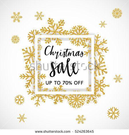 Elegant merry christmas lettering design with shining gold glittering snowflakes in white frame on background vector illustration eps also rh pinterest