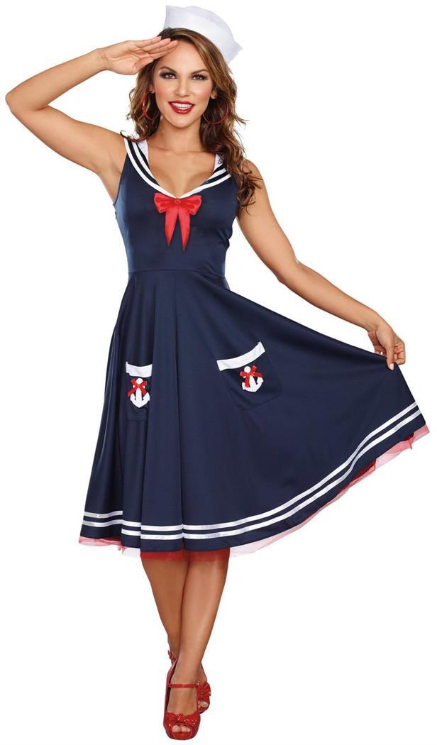 Navy Sailor Girl Instant Kit Hat /& Scarf Ladies Womens Fancy Dress Costume New