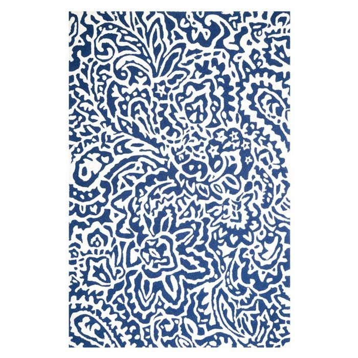 Flores Indoor Outdoor Rug Paisley Rug Floral Area Rugs Blue Area Rugs