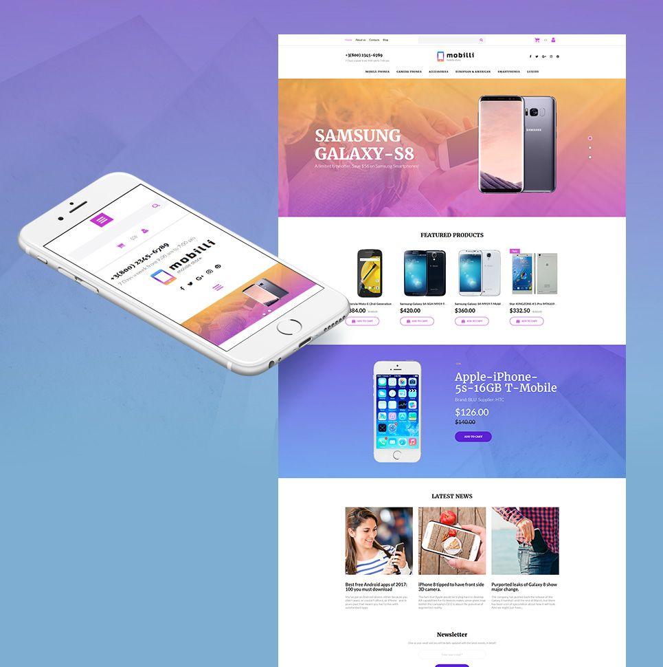 Mobile Store Responsive Motocms Ecommerce Template Advertising