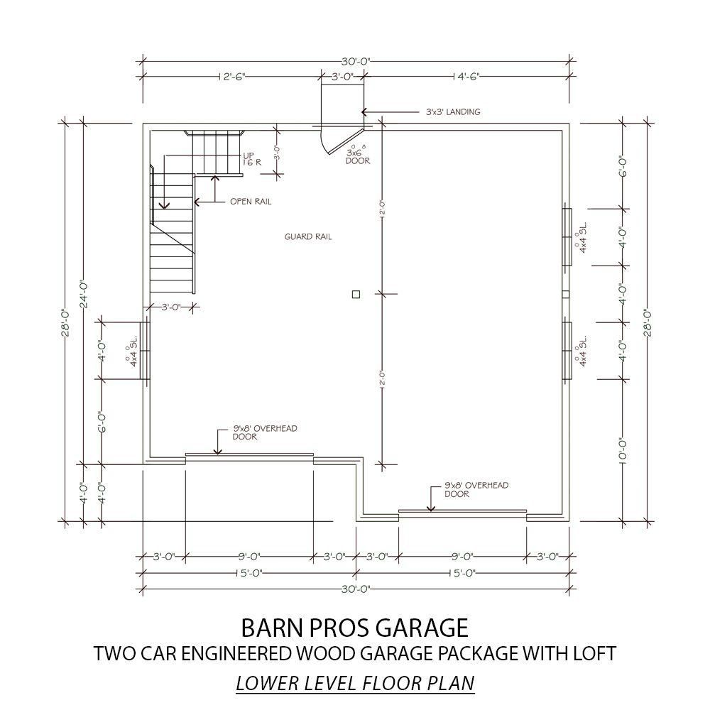 Garage Plans Blueprints 28 Ft X 28ft With Dormers: Barn Pros 2-Car 30 Ft. X 28 Ft. Engineered Permit-Ready