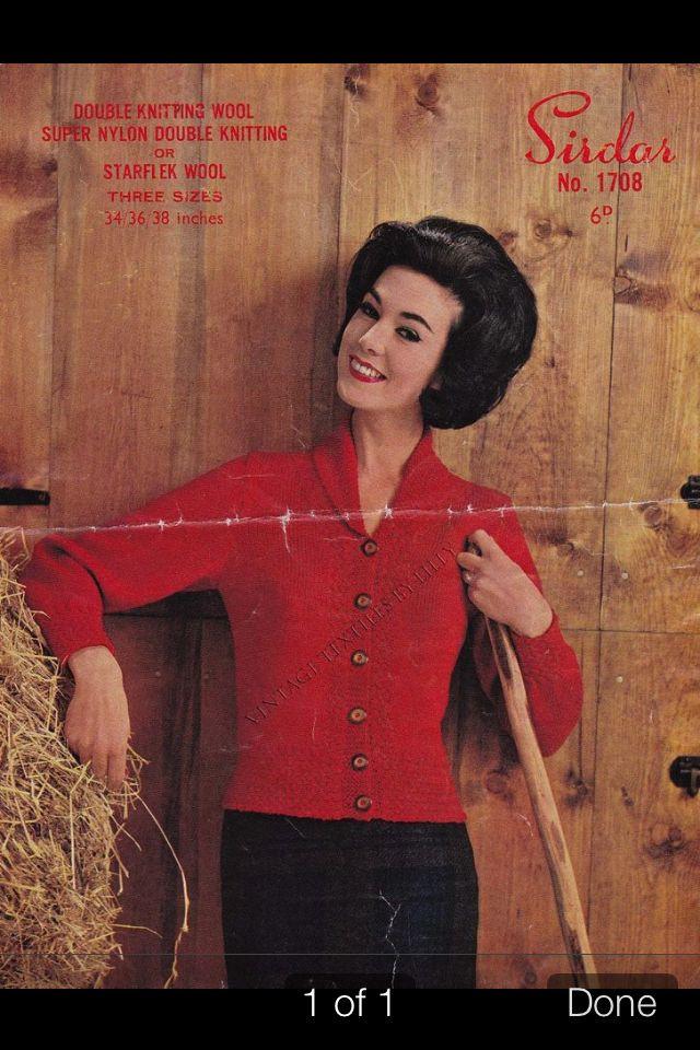 Vintage Cardigan Knitting Pattern With Shawl Collar Knitwear