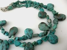 Vintage Blue Webbed Turquoise Necklace Sterling Silver Clasp Boho Hippy