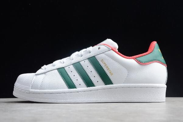 adidas Superstar White Red Green Unisex Leather Sneakers ...