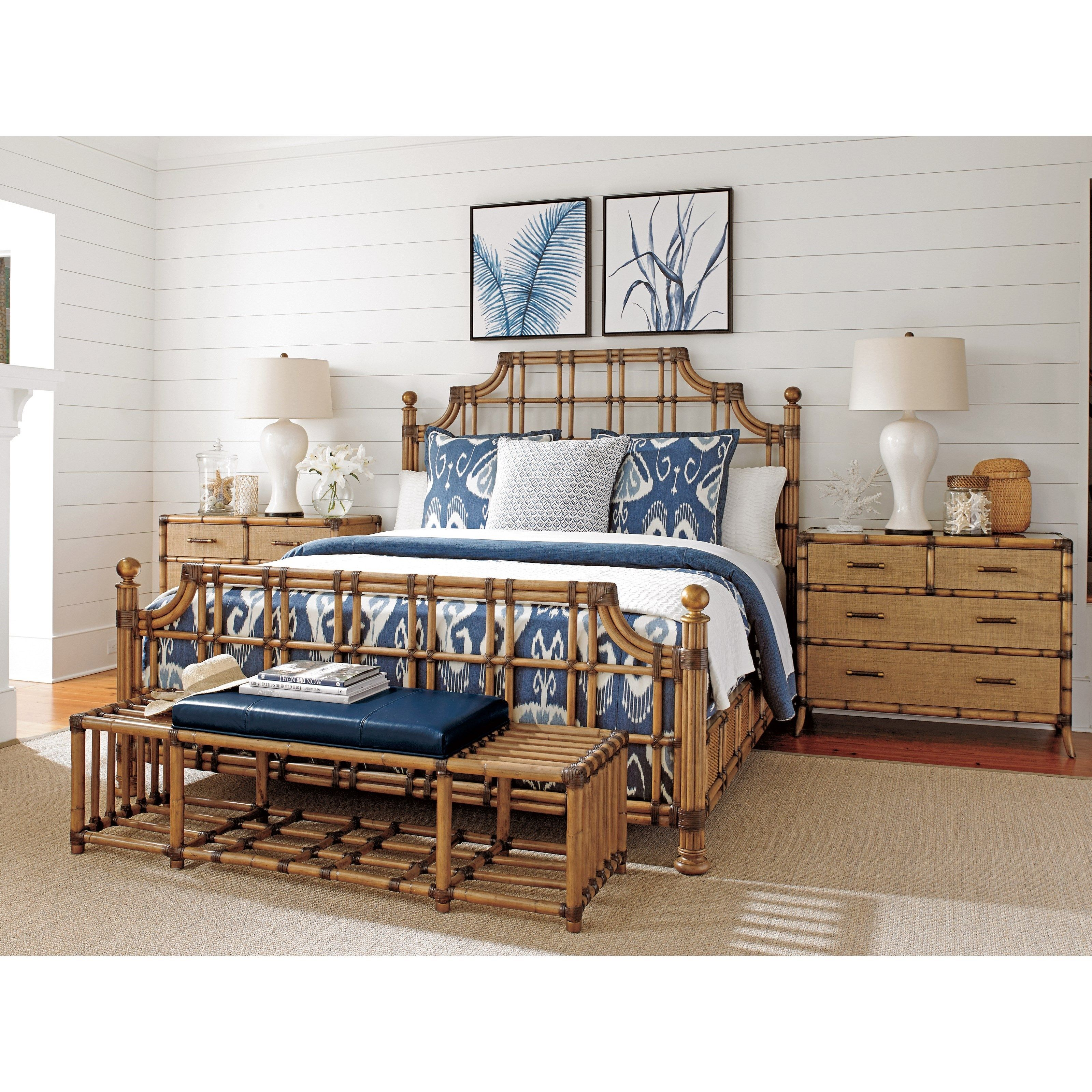 Twin Palms St. Kitts Woven Rattan Bed Queen Size With