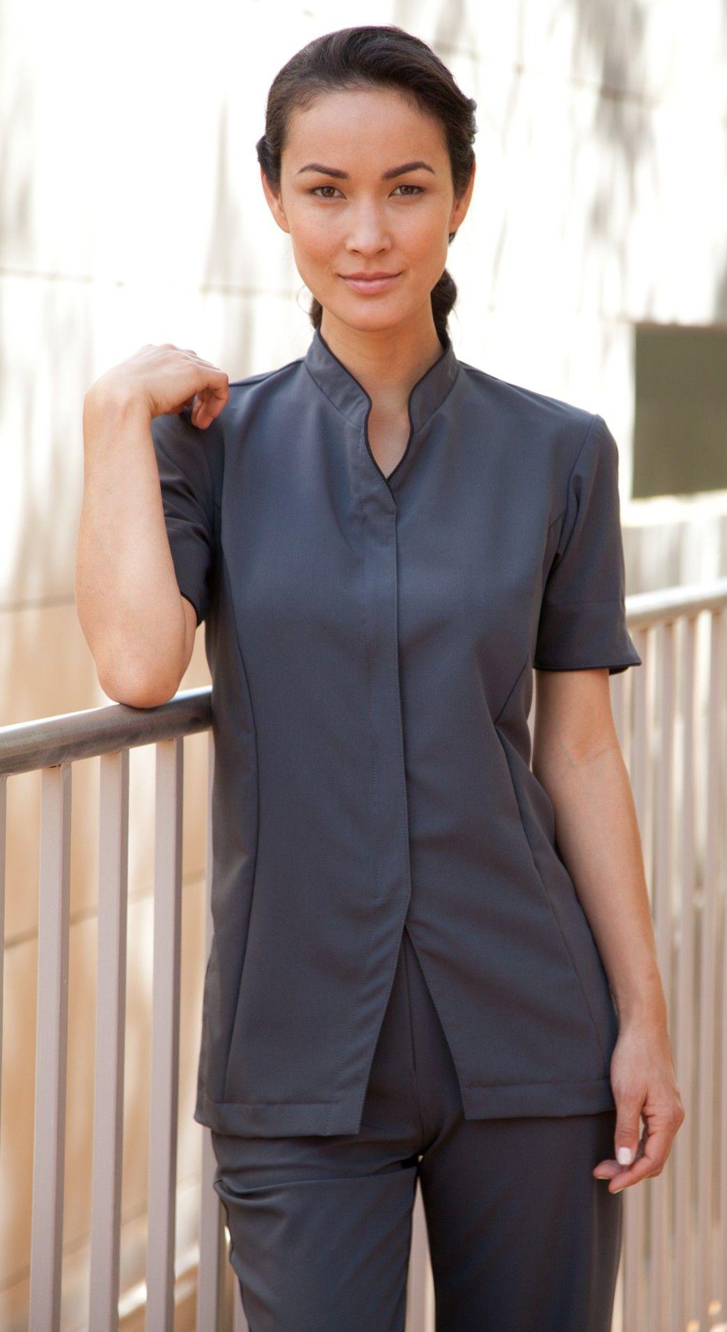 Alina custom spa uniform 7420 charcoal lightweight for Uniform spa therapist