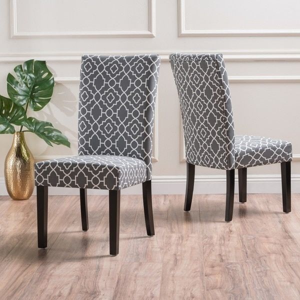 Jami Geometric Patterned Fabric Dining Chair Set Of 2 By Christopher Knight Home