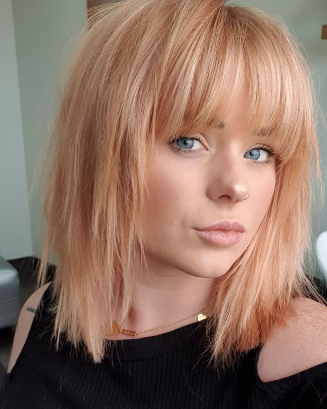 Kalohairbeauty On Instagram New Fringe And 70s Shag For Rubyjohnston Kalohair In 2020 Hair Styles Medium Hair Styles Fringe Hairstyles