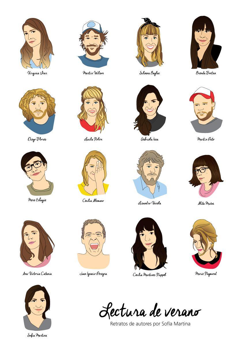 """Retrato de autores para Fanzine """"Lectura de Verano"""". Autor: Sofia Martina. Técnica: Ilustración digital."""
