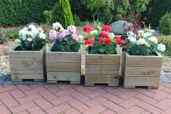 Set Of Four 32cm Square Wooden Garden Planter Pot In Plain Treated Timber #woodengardenplanters