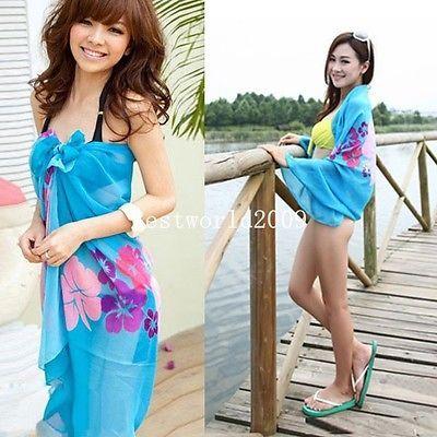 fdd847e2c1e1f Sexy Women Chiffon Bikini Cover Up Beach Swimwear Sarong Wrap Dress Scarf  Pareo