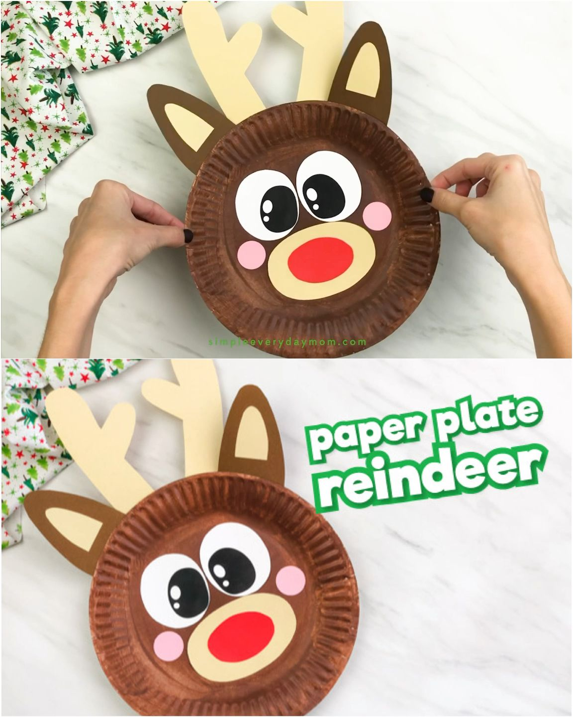 Paper Plate Reindeer Craft For Kids #holidaycraftschristmas