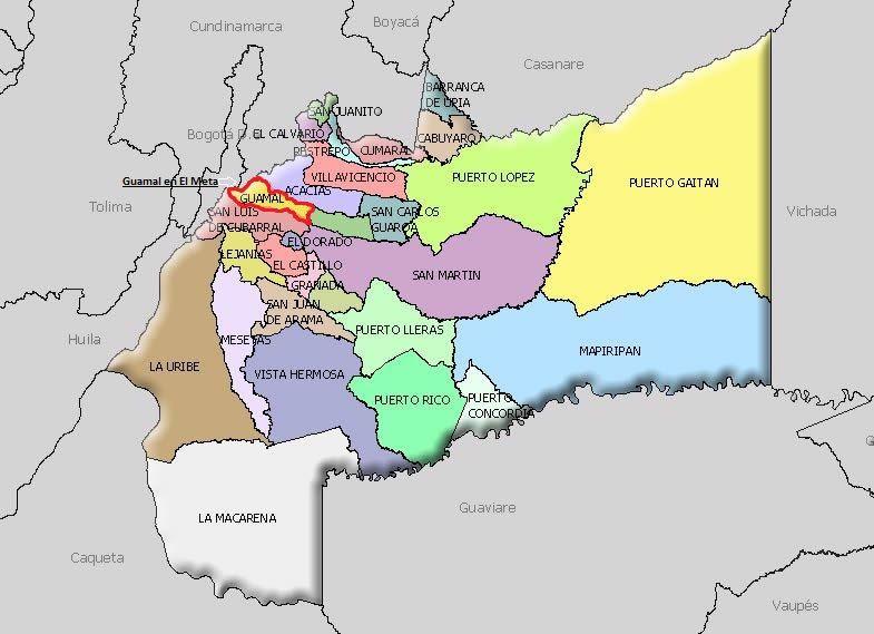 imagen de mapa de Guamal en el Departamento del Meta