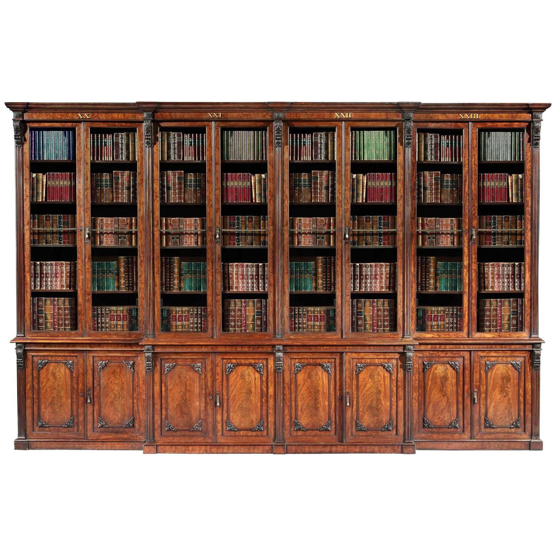 Antique 19th Century English Mahogany Library Bookcase Library
