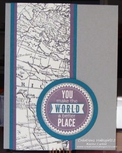 Starburst Sayings, World Map, Stampin Up!  Occasions catalogue  by Karine Cartier www.creationshabsgirl22.com sketch PPA188 and CCMC286