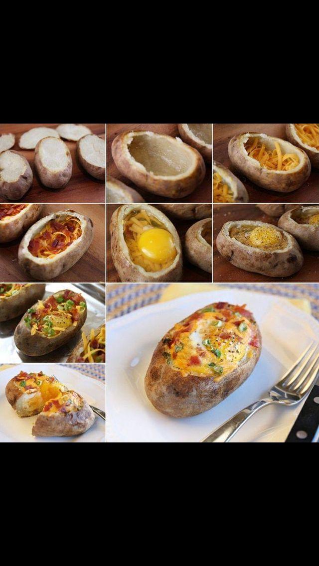 Omelet baked potatoe