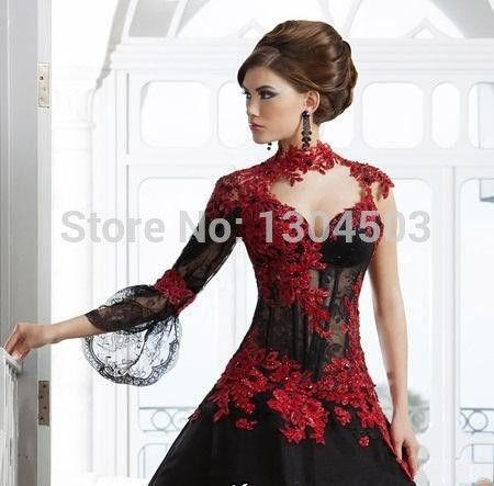 Romantic Black Gothic Ball Gown Wedding Dresses High Neck Long Sleeve Red Lace Appliqued Sexy Taffeta Bridal Vestido 2015