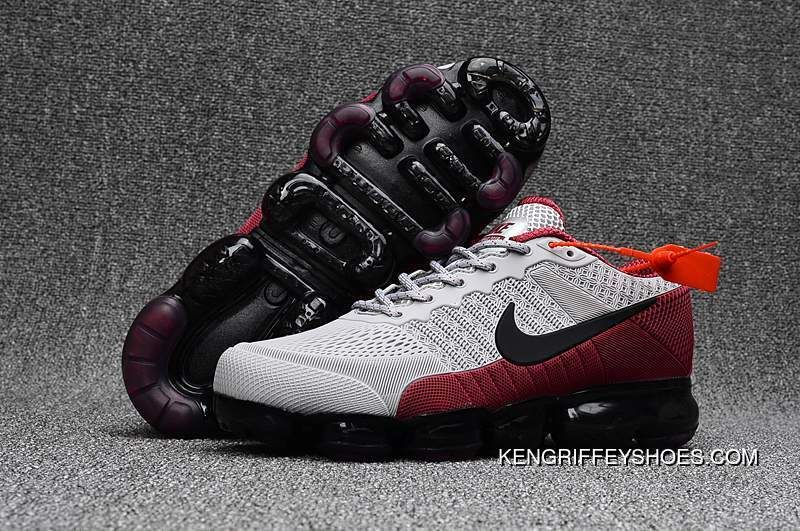 the latest 2988b 45806 Cheap Nike Air Vapormax Flyknit Grey Black Burgundy 2018 Online, Price    93.89