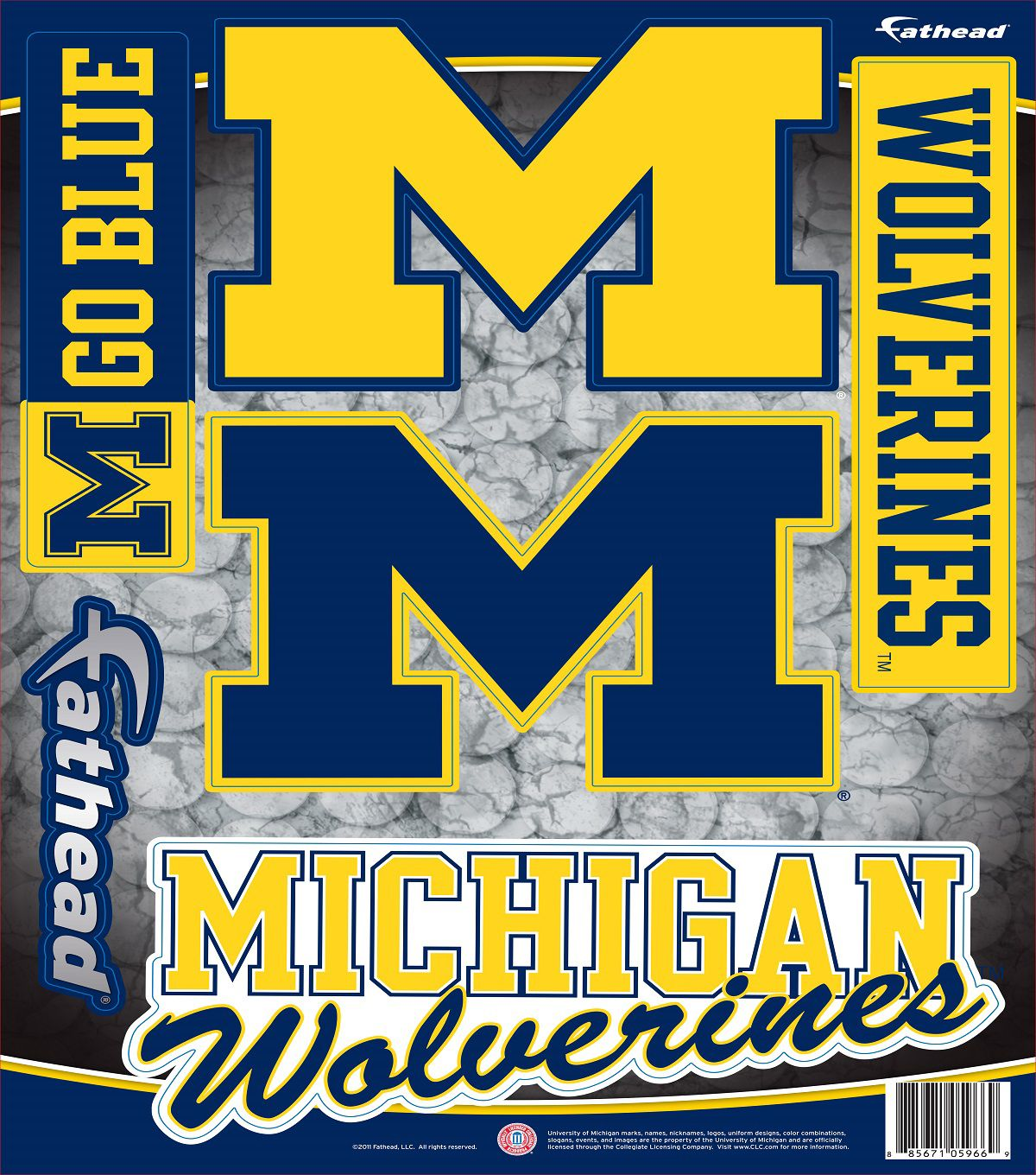 University Of Michigan Fat Head Wall Decal - Assorted Logos - Fabric ...