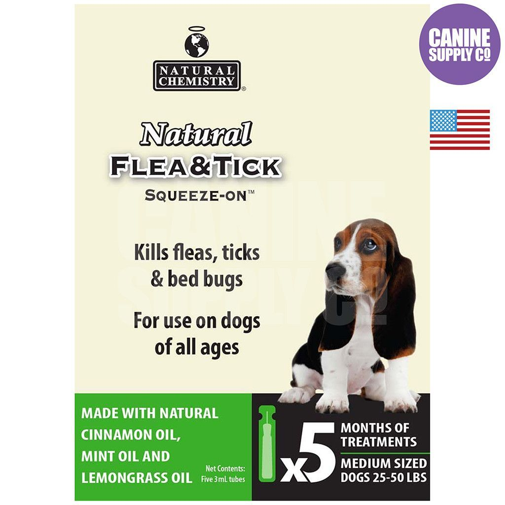 Natural Flea & Tick Squeeze On For Medium Dogs, 5/3ml