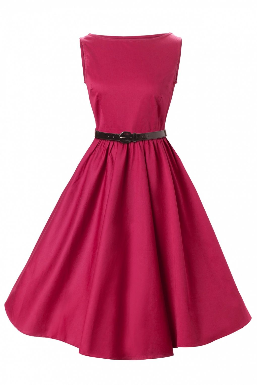 1950's Audrey Hepburn style swing party rockabilly evening Raspberry vintage  dress