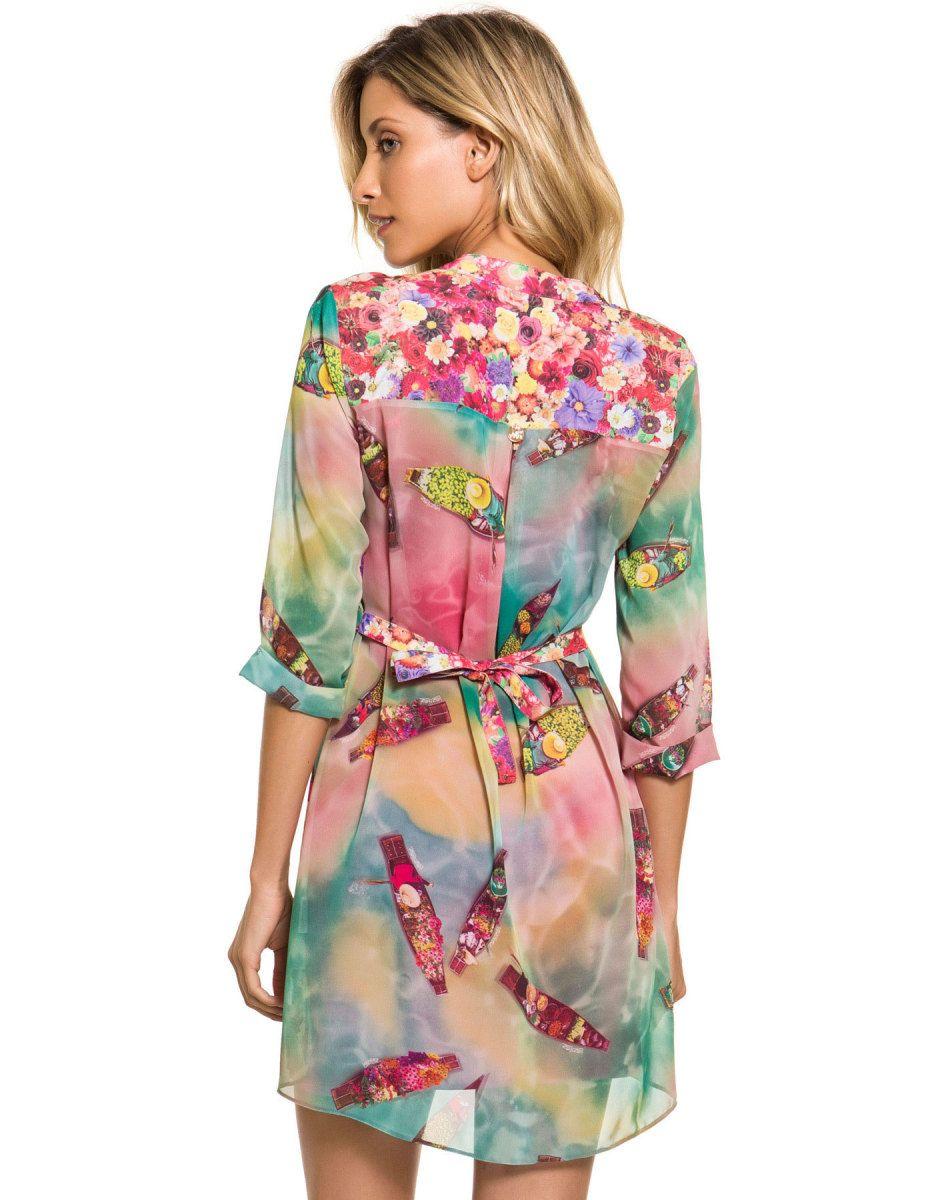b069ade728 Vestido Estampado Com Manga e Laço Nas Costas Flower - Lez a Lez. Vestido  lindo