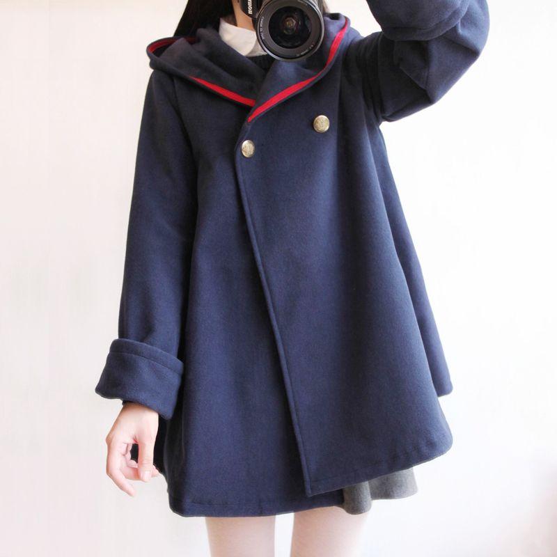 2016 winter new vintage wool cloak preppy style sailor navy blue blends coat outerwear women plus size solid color autumn cape