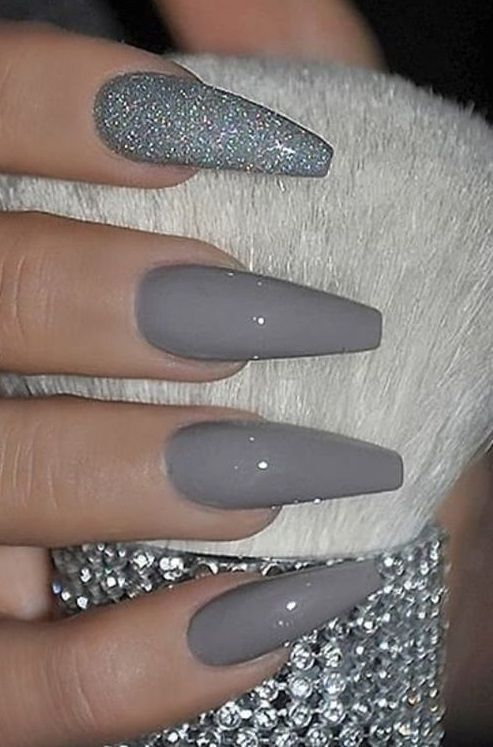 The Best Gray Nail Art Design Ideas In 2020 Coffin Nails Glitter Fall Acrylic Nails Best Acrylic Nails