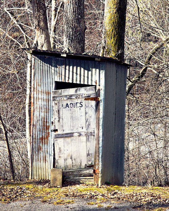 Outhouse Shower Curtain Farm Village Rustic Print for Bathroom