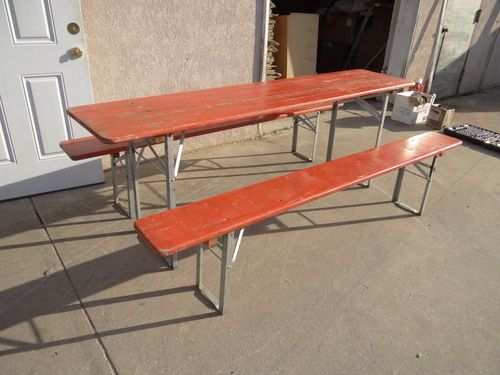 Vintage Mid Century Industrial German Beer Dining Table Folding Benches Set  | EBay