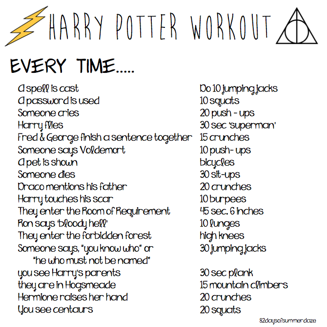 Harry Potter Marathon Workout Such A Great Idea To Work Out While You Watch Harry Potter Harry Potter Workout Harry Potter Marathon Harry Potter Fanfiction