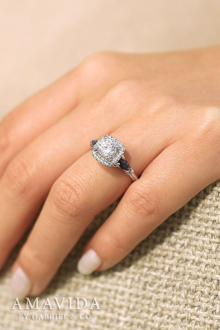 K white gold princess cut halo engagement ring rings